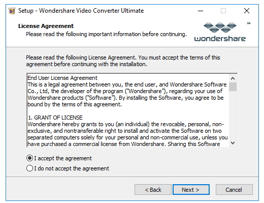 Intall UniConverter - read license agreement and browse destination folder